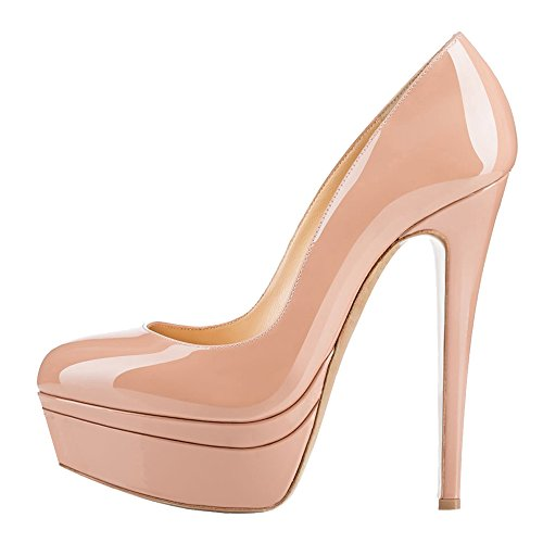 MONICOCO-Womens-High-Heel-Shoes-Party-Pumps-with-Platform-Solid-Nude-Patent-105-US-0