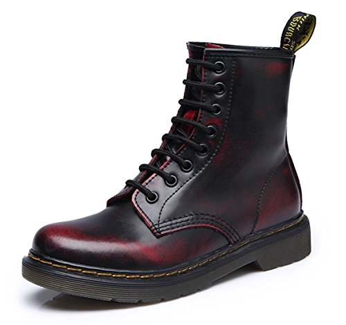 Modemoven-Womens-Round-Toe-Lase-up-Ankle-Boots-Ladies-Leather-Combat-Booties-Fashion-Martens-Boots-Black-red-US9-0