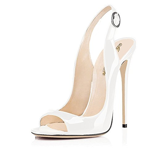 Modemoven-Womens-White-Patent-Leather-PumpsPeep-Toe-HeelsSlingback-SandalsEvening-ShoesCute-Stilettos-105-M-US-0