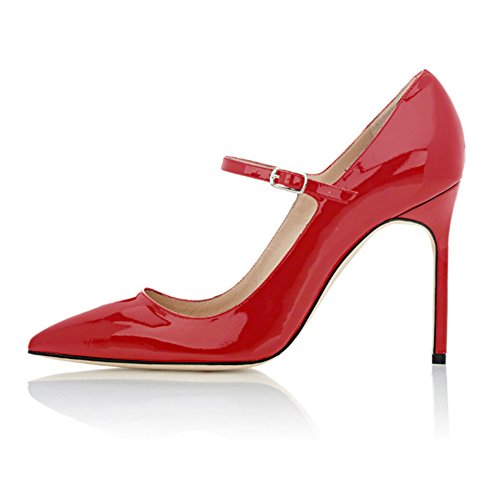 Soireelady-Womens-High-Heel-Pumps-Mary-Jane-Court-Shoes-Office-10CM-Stilettos-Red-US12-0