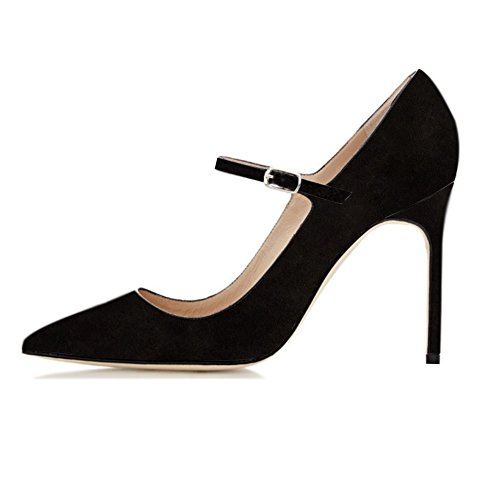 Soireelady-Womens-High-Heel-Pumps-Mary-Jane-Suede-Shoes-Work-Evening-Stilettos-Suede-Black-US8-0
