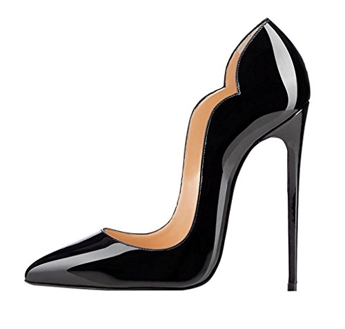 Soireelady-Womens-High-Heel-Pumps-Wave-Edge-Stilettos-12cm-Sexy-Party-Wedding-Court-Pumps-Black-US12-0-0