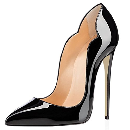 Soireelady-Womens-High-Heel-Pumps-Wave-Edge-Stilettos-12cm-Sexy-Party-Wedding-Court-Pumps-Black-US12-0