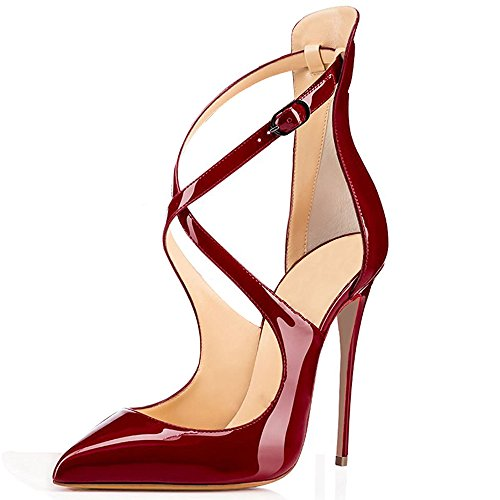 Soireelady-Womens-High-Heels-Pumps-Crisscross-Strappy-Stilettos-12CM-Ankle-Buckle-Strap-Heels-Wine-US12-0