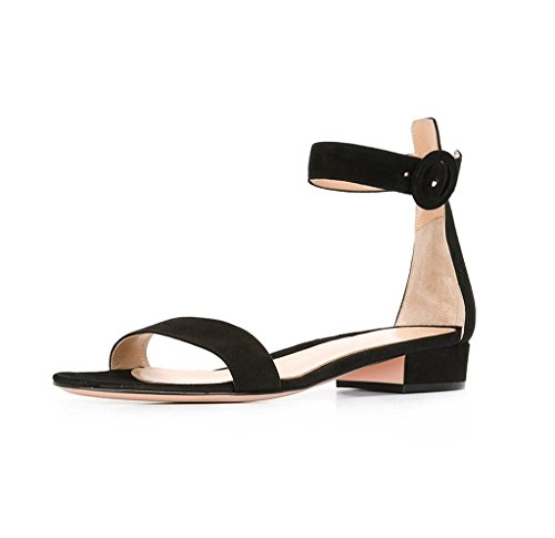 Soireelady-Womens-Low-Heels-Sandals-Ankle-Strap-2CM-Open-Toe-Sandals-Summer-Classic-Flats-Black-US12-0-0