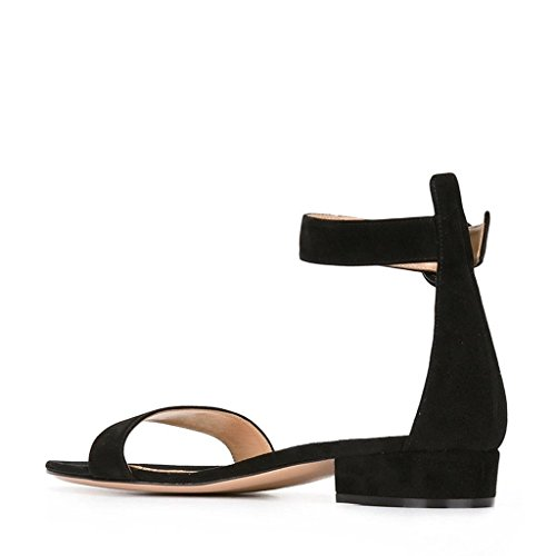 Soireelady-Womens-Low-Heels-Sandals-Ankle-Strap-2CM-Open-Toe-Sandals-Summer-Classic-Flats-Black-US12-0-1