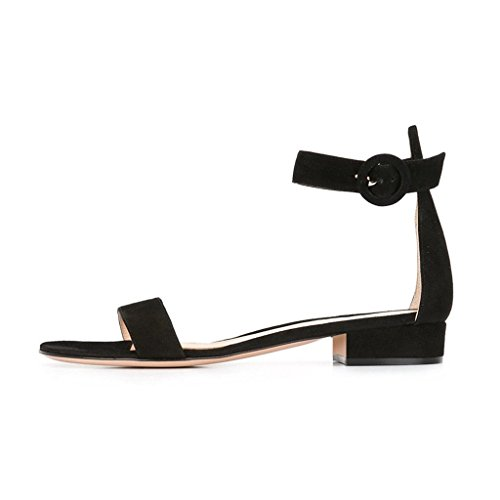 Soireelady-Womens-Low-Heels-Sandals-Ankle-Strap-2CM-Open-Toe-Sandals-Summer-Classic-Flats-Black-US12-0