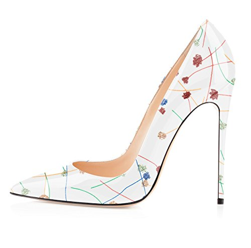 Soireelady-Womens-Patent-Leather-PumpsPointed-Toe-HeelsParty-Evening-ShoesCute-Stilettos-12cm-White-US8-0