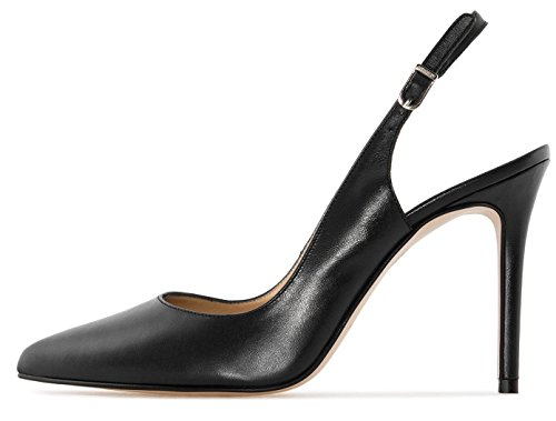Soireelady-Womens-Slingback-Court-Shoes-10cm-Closed-Toe-Ankle-Strap-High-Heel-Pumps-Black-US12-0