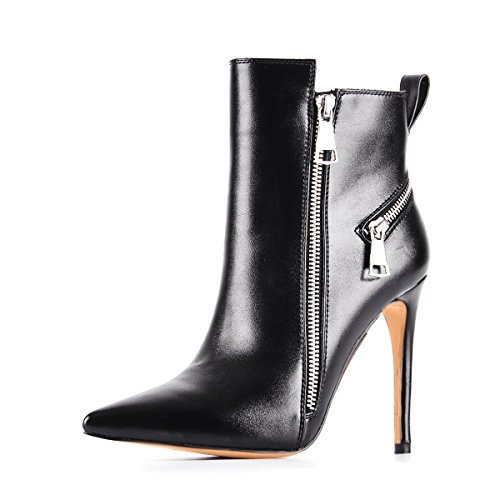 UMEXI-Black-Pointede-Toe-Ankle-Boots-Side-Zipper-47-inches-Stiletto-High-Heels-for-Women-0-0