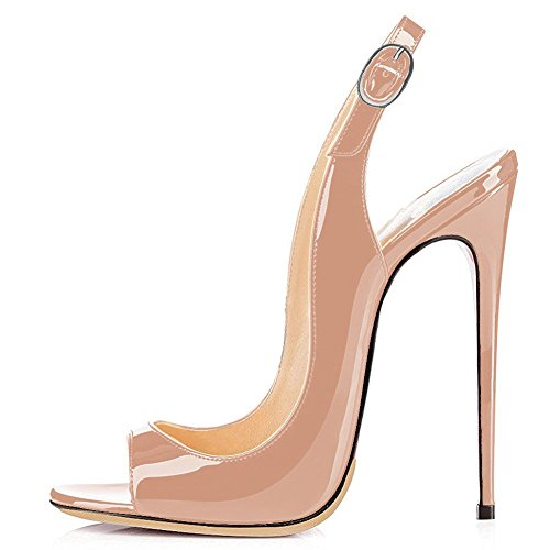 UMEXI-Open-Toe-Slingbacks-Ankle-Strap-High-Heels-Stiletto-Pumps-Wedding-Party-Shoes-for-Women-Nude-Size-7-0