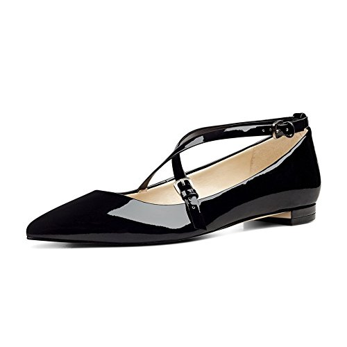 UMEXI-Pointede-Toe-Criss-Cross-Strap-Classic-Ballet-Flats-Slip-On-Patent-Leather-Walking-Shoes-for-Women-0