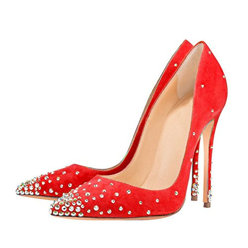 UMEXI-Rhinestones-Pointed-Toe-High-Heels-Slip-On-Stilettos-Fashion-Dress-Shoes-for-Women-Red-Size-10-0-0