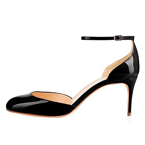 UMEXI-Round-Toe-Ankle-Strap-Sandals-D-orsay-High-Heels-Stilettos-Pumps-for-Women-Black-Size-15-0