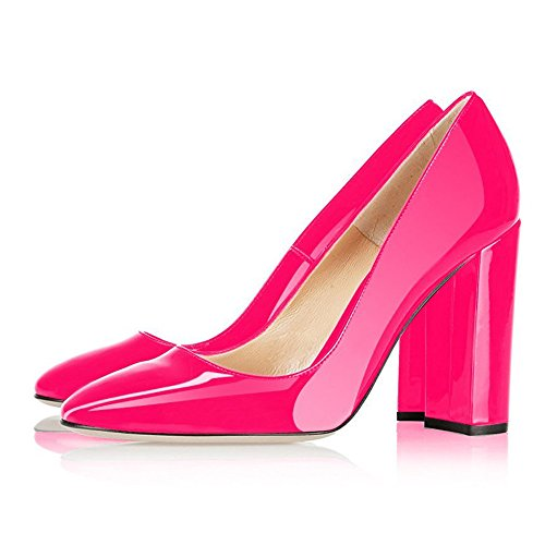 UMEXI-Round-Toe-High-Heels-Slip-On-Chunky-Heel-Pumps-Party-Wedding-Dress-Shoes-for-Women-0-1