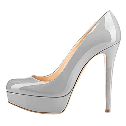 UMEXI-Round-Toe-Platform-Pumps-Stiletto-High-Heel-Slip-On-Party-Wedding-Dress-Shoes-for-Women-Grey-Size-15-0