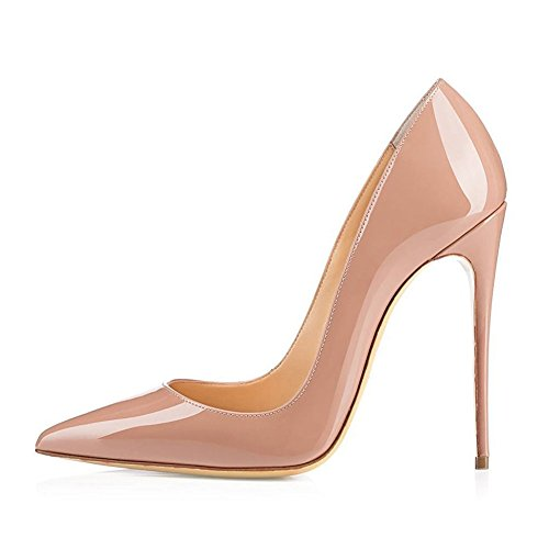 UMEXI-Women-Pointed-Toe-High-Heels-Slip-on-Stilettos-Wedding-Party-Dress-Shoes-Plus-Size-Pumps-Nude-Size-95-0