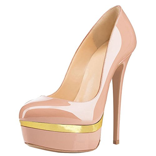Women-Double-Platform-Pumps-Closed-Toe-Stiletto-High-Heels-Dress-Shoes-Nude-and-Gold-Size-6-0