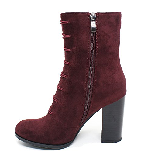 Guoar-Women-Closed-Toe-Chunky-High-Heels-Zipper-Dress-Ankle-Boots-Wine-Red-US10-0-3