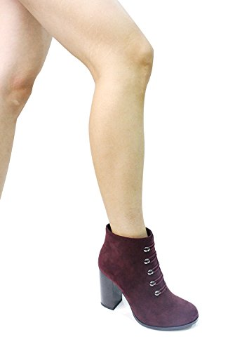 Guoar-Women-Closed-Toe-Chunky-High-Heels-Zipper-Dress-Ankle-Boots-Wine-Red-US10-0-5
