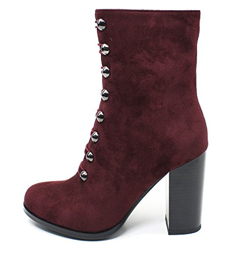 Guoar-Women-Closed-Toe-Chunky-High-Heels-Zipper-Dress-Ankle-Boots-Wine-Red-US10-0
