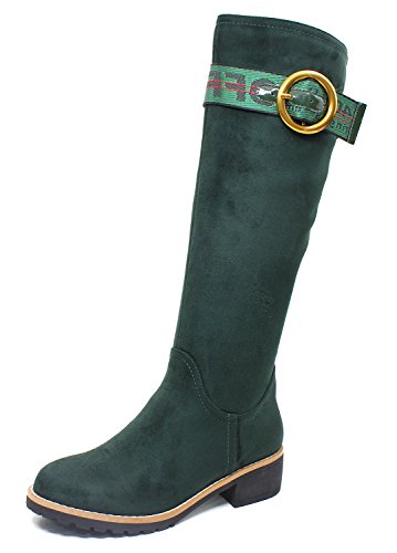 Guoar-Women-Round-Toe-Block-Heels-Knee-High-Comfortable-Mid-Calf-Boots-Green-us9-0