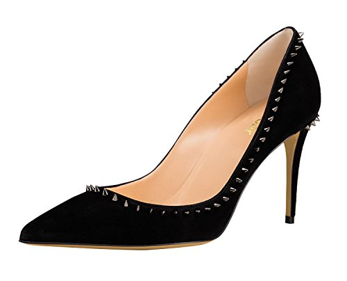 Guoar-Womens-Classic-Pointed-Toe-High-Heels-Stiletto-Rivet-Pumps-Studded-Shoes-size-5-12-Black-US-7-0