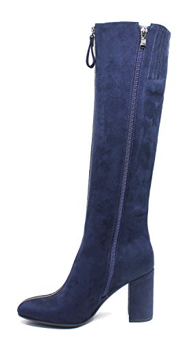 Guoar-Womens-Closed-Toe-Fashion-Zipper-Block-Heels-Knee-High-Boots-Blue-US11-0-2