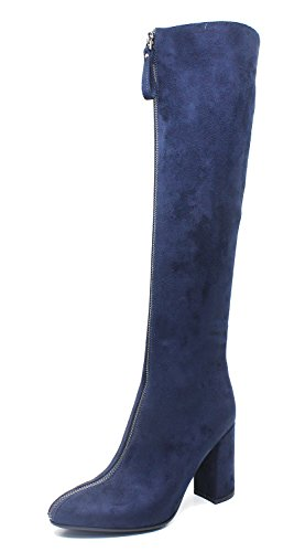 Guoar-Womens-Closed-Toe-Fashion-Zipper-Block-Heels-Knee-High-Boots-Blue-US11-0