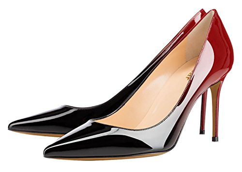 Guoar-Womens-Flattering-Gradient-Pointed-Toe-High-Heels-Stiletto-Grossy-Pumps-Dress-Shoes-size-5-12-Black-Red-US-8-0-0