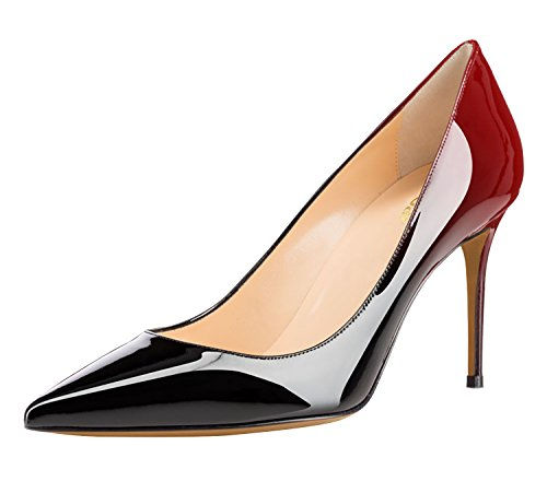 Guoar-Womens-Flattering-Gradient-Pointed-Toe-High-Heels-Stiletto-Grossy-Pumps-Dress-Shoes-size-5-12-Black-Red-US-8-0