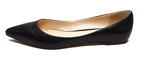 Guoar-Womens-Pointed-Toe-Big-Size-Shallow-Black-Soft-Leather-Solid-Flats-Shoes-us11-0