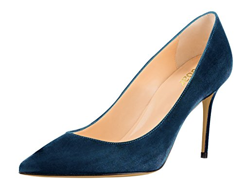 Guoar-Womens-Pointed-Toe-High-Heel-Shoes-Stiletto-Comfort-Suede-Pumps-Dress-Shoes-size-5-12-Dark-Teal-US-12-0