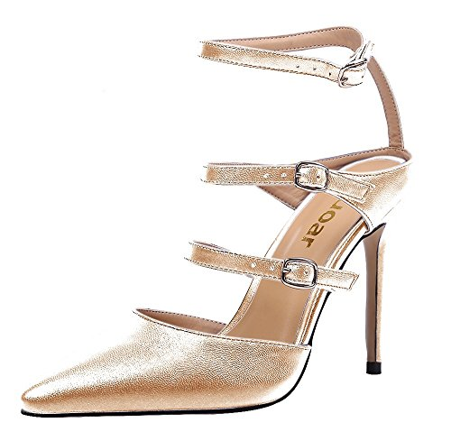 Guoar-Womens-Pointed-Toe-Stiletto-Heels-Ankle-Strap-Strappy-Sandals-Pumps-Shoes-For-Party-Dress-Gold-PU-US-12-0-0