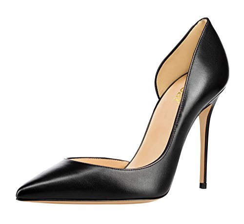 Guoar-Womens-Pointy-Toe-Stiletto-High-Heesl-DOrsay-Pumps-Party-Wedding-Prom-Dress-Shoes-size-5-12-Black-PU-US-8-0