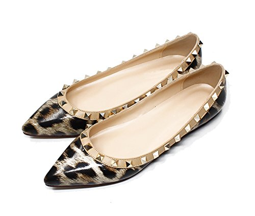 Guoar-Womens-Sexy-Rivets-Stud-Buckle-Shallow-Mouth-Pointed-Toe-Flat-Leopard-Pump-Shoes-US115-0-1