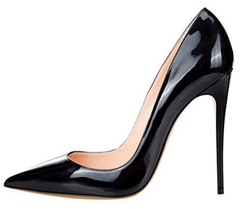 Guoar Women's Stiletto Big Size Shoes Pointed Toe Patent ...