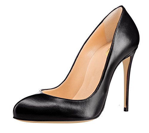 Guoar-Womens-Stiletto-Round-Toe-High-Heels-Pumps-V-cut-Top-Prom-Party-Dress-Shoes-size-5-12-US-Black-US-8-0