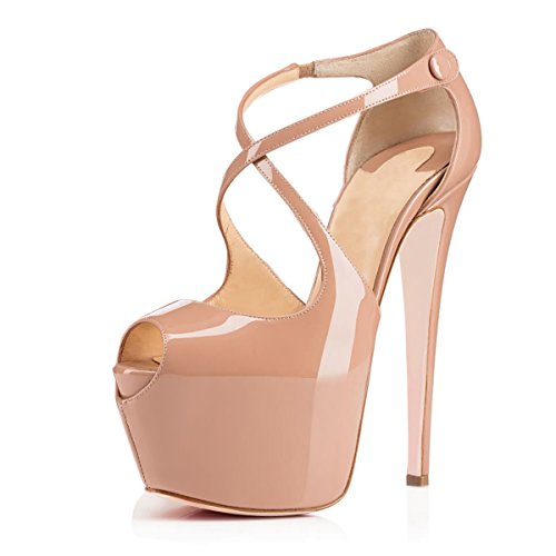 JOOGO-Open-Toe-Platform-Stilettos-Ankle-Corss-Strap-Buckle-Snap-High-Heels-Wedding-Pumps-Nude-Size-8-0
