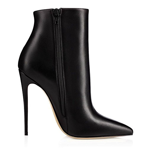 JOOGO-Pointed-Toe-Ankle-Boots-Size-Zipper-Stiletto-High-Heels-Party-Wedding-Pumps-Dress-Shoes-for-Women-Black-Leather-Size-9-0-0