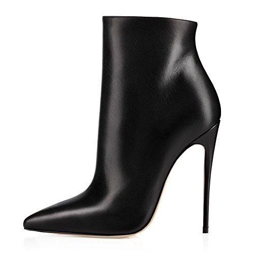 JOOGO-Pointed-Toe-Ankle-Boots-Size-Zipper-Stiletto-High-Heels-Party-Wedding-Pumps-Dress-Shoes-for-Women-Black-Leather-Size-9-0-1