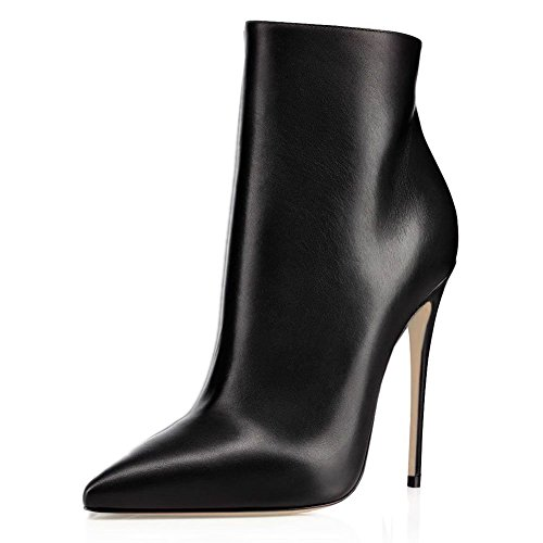 JOOGO-Pointed-Toe-Ankle-Boots-Size-Zipper-Stiletto-High-Heels-Party-Wedding-Pumps-Dress-Shoes-for-Women-Black-Leather-Size-9-0