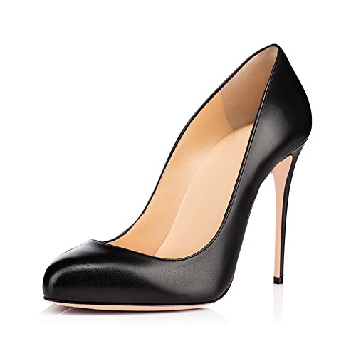JOOGO-Round-Toe-Party-Stilettos-Slip-On-High-Heels-47-inches-Thin-Heel-Classics-Pumps-Black-Matte-Size-15-0