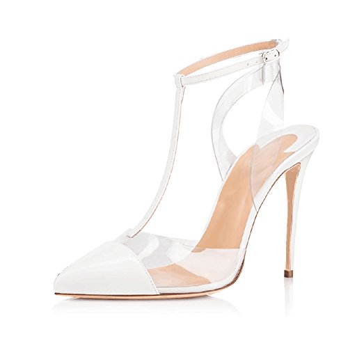 JOOGO-Women-Lucite-Clear-Pointed-Toe-Ankle-T-Strap-High-Heels-Stiletto-Sandal-Pumps-White-Size-12-0