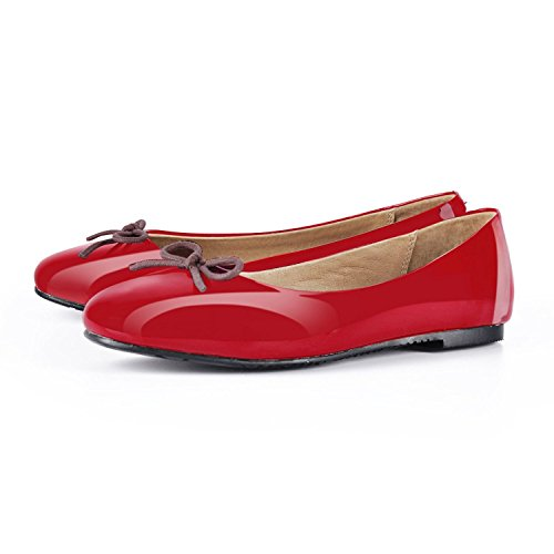 JOOGO-Women-Round-Toe-Ballet-Flats-With-Bow-Tie-Slip-On-Casual-Comfortable-Shoes-Red-Size-8-0-0