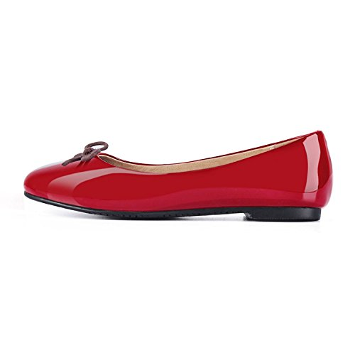 JOOGO-Women-Round-Toe-Ballet-Flats-With-Bow-Tie-Slip-On-Casual-Comfortable-Shoes-Red-Size-8-0