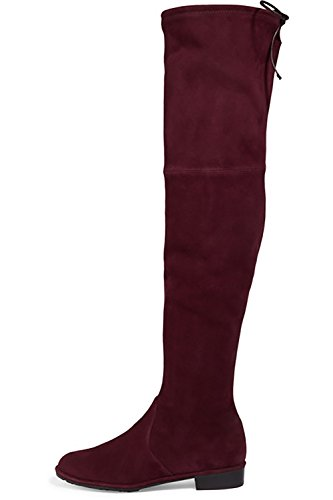Mavirs-Knee-High-Boots-Womens-Round-Toe-Thigh-High-Over-The-Knee-Boots-Stretch-Suede-Flat-Heel-Tall-Boots-13-M-US-0