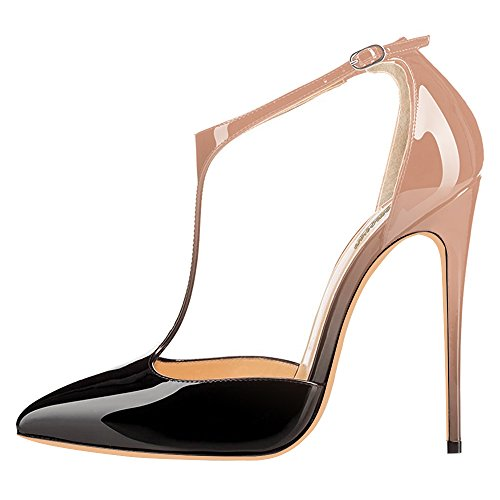 Modemoven-Womens-Neutral-and-Black-Pointed-Toe-StilettosT-Strap-High-HeelsPatent-Leather-Dorsay-PumpsSexy-Evening-Shoes-7-M-US-0-0