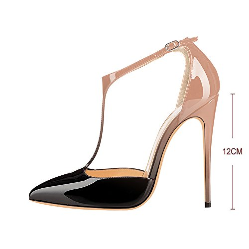 Modemoven-Womens-Neutral-and-Black-Pointed-Toe-StilettosT-Strap-High-HeelsPatent-Leather-Dorsay-PumpsSexy-Evening-Shoes-7-M-US-0-2