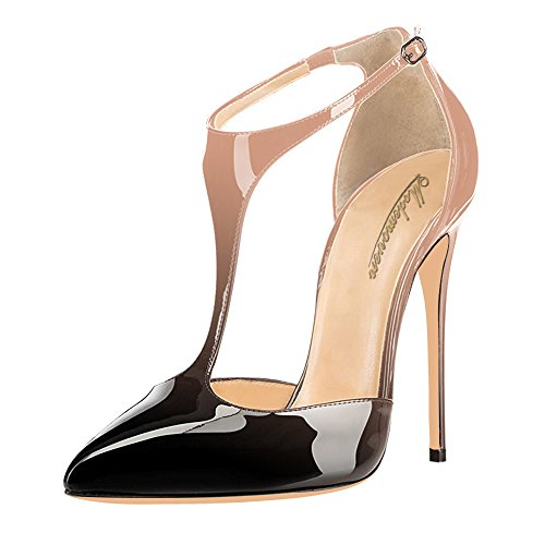 Modemoven-Womens-Neutral-and-Black-Pointed-Toe-StilettosT-Strap-High-HeelsPatent-Leather-Dorsay-PumpsSexy-Evening-Shoes-7-M-US-0